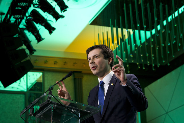 Image: Mayor Pete Buttigieg speaks at the U.S. Conference of Mayors in Washington on Jan. 24, 2019.