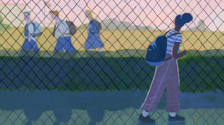 Image: Illustration of black student looking through fence at group of white students