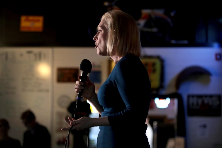Image: Sen. Kirsten Gillibrand, D-NY, speaks to guests during a campaign stop in Cedar Rapids, Iowa, on Feb. 18, 2019.