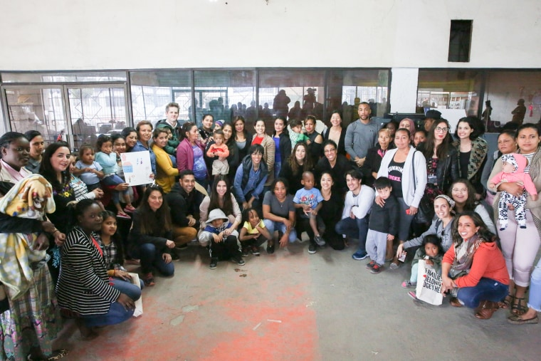 Image: A group of actors and actresses, including America Ferrera, Kerry Washington, and Eva Longoria, traveled to the Mexican border to visit with migrants in a shelter in Tijuana.