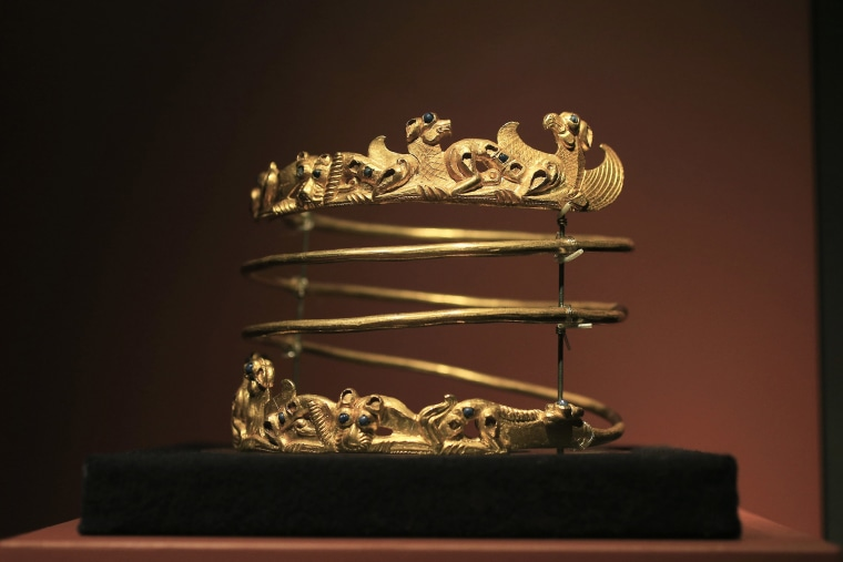 Image: A spiraling torque from the second century A.D., is displayed as part of the exhibit called The Crimea - Gold and Secrets of the Black Sea, at Allard Pierson historical museum in Amsterdam