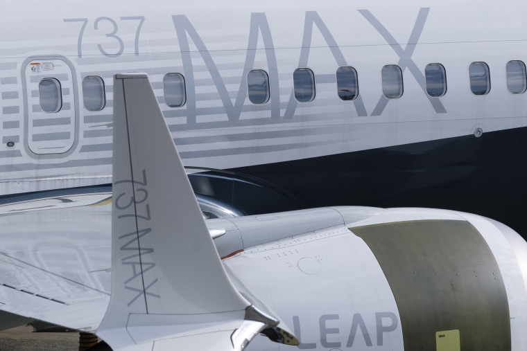 Image: A 737 MAX airplane is pictured on he tarmac with its signature winglet and fuel efficient engines outside the company's factory