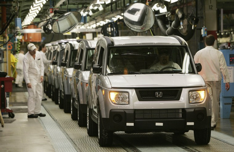 Honda Elements are assembled at a Honda plant in Ohio in 2006. Element from 2003 through 2010 are among the older vehicles being recalled by Honda.