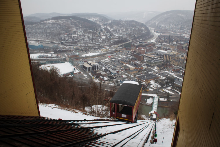 The Johnstown Inclined Plane overlooks the block where Barto had an office during the time Brosig and Goetz say they were sexually assaulted by the pediatrician.Justin Merriman / for NBC News