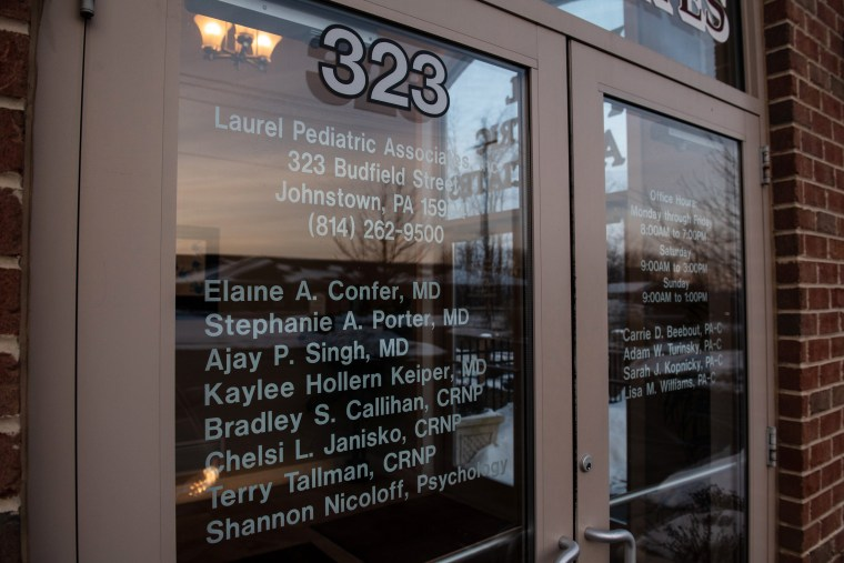 Barto's name is no longer listed on the glass front doors at Laurel Pediatric Associates.Justin Merriman / for NBC News