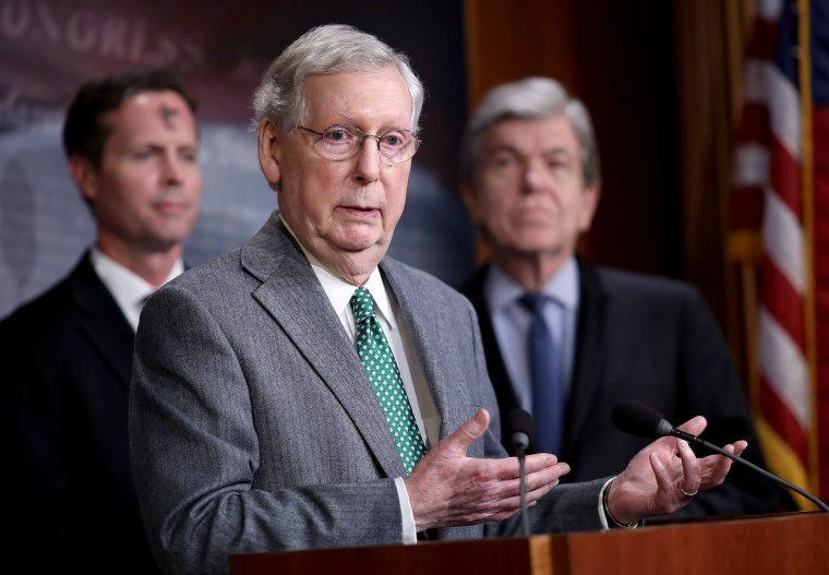 Image: Senate Majority Leader Mitch McConnell speaks at a press conference in Washington on March 6, 2019.
