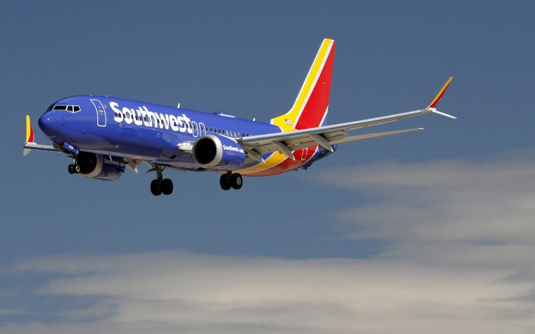 Image: A Boeing 737 Max 8 jetliner, belonging to Southwest Airlines, lands at McCarran International Airport in Las Vegas