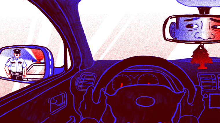 Illustration of officer approaching a car with a nervous looking man inside.