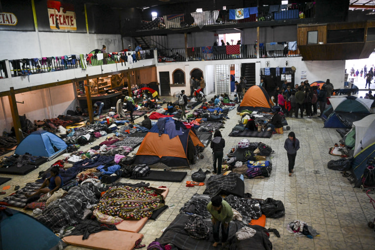 Members of the migrant caravan inside El Barretal on Dec. 1, 2018 in Tijuana