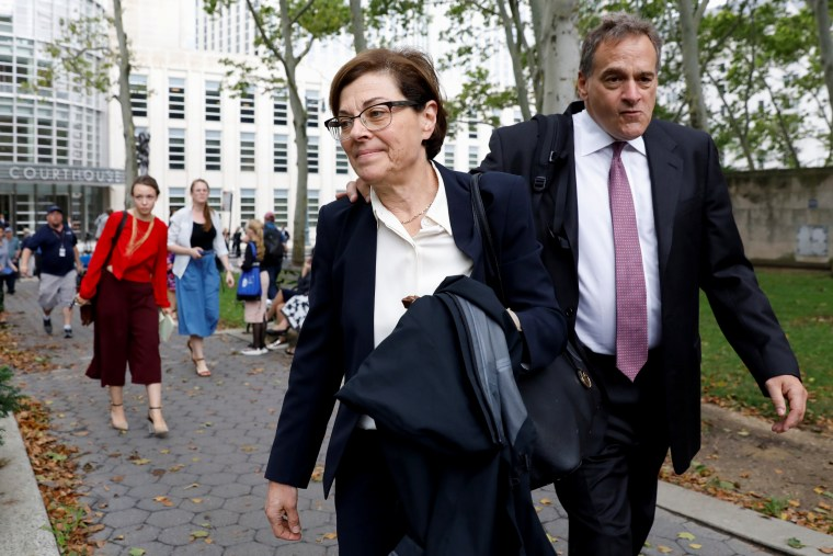 Image: Nancy Salzman exits court following a hearing at the United States Federal Courthouse in Brooklyn on July 25, 2018.