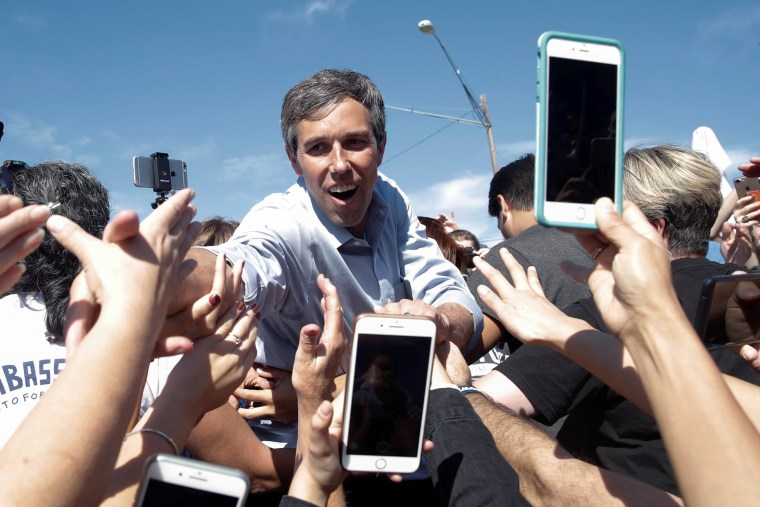Image: U.S. Rep. Beto O'Rourke (D-TX), candidate for U.S. Senate greets supporters at a campaign rally in Austin