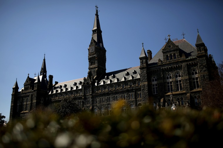 Image: The campus at Georgetown University in Washington, DC, on March 12, 2019.