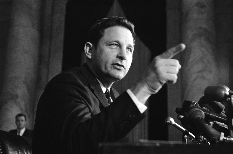 Image: Sen. Birch Bayh, D-Ind., speaks at a news conference in Washington on Nov. 8, 1968.