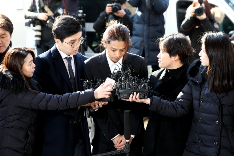 Image: Jung Joon-young arrives at the Seoul Metropolitan Police Agency in South Korea on March 14, 2019.