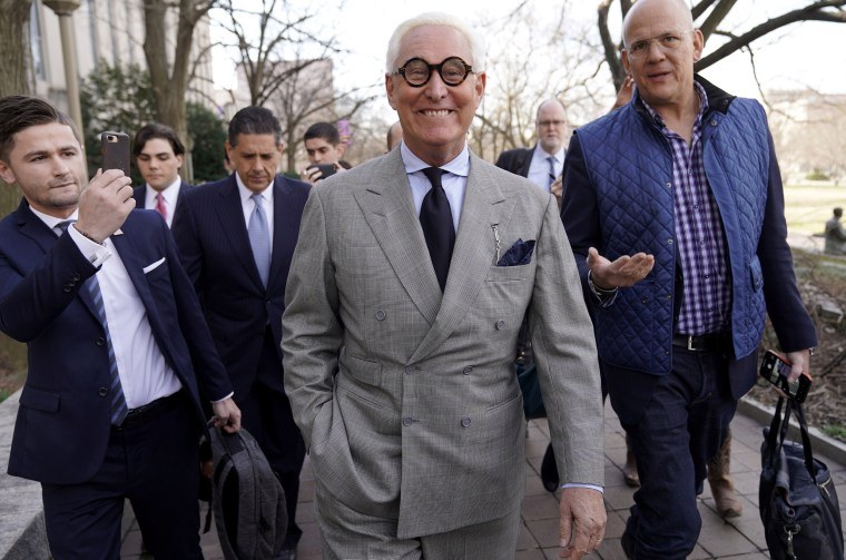 Image: Roger Stone, a former adviser to President Donald Trump, leaves court after a status hearing on March 14, 2019.