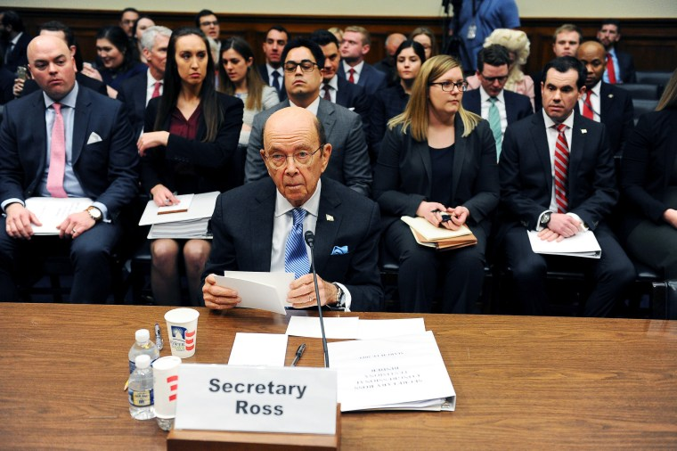 Commerce Secretary Wilbur Ross testifies at a House Oversight and Reform Committee hearing in Washington