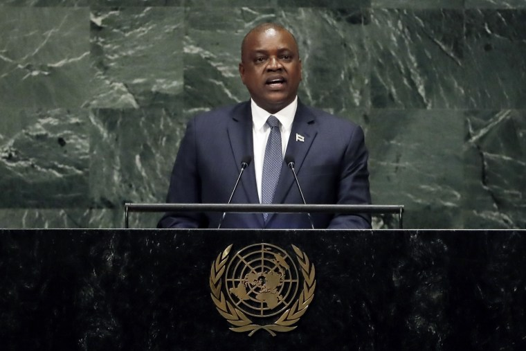 Image: Botswana's President Mokgweetsi Eric Keabetswe Masisi addressed the United Nations General Assembly on Sept. 27, 2018.