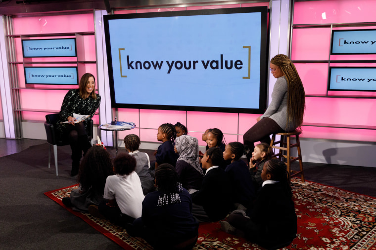 MSNBC anchor Yasmin Vossoughian speaks to students from Harlem Village Academy about women's history.