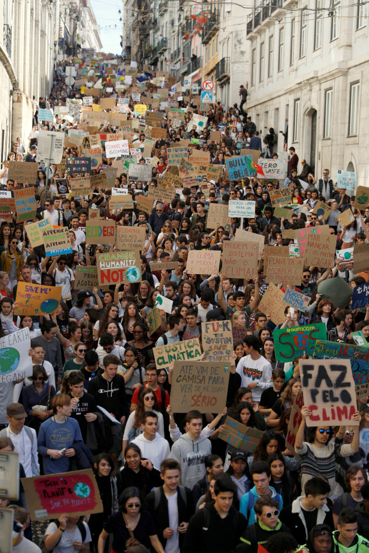 Image: Students protest to demand action on climate change in Lisbon