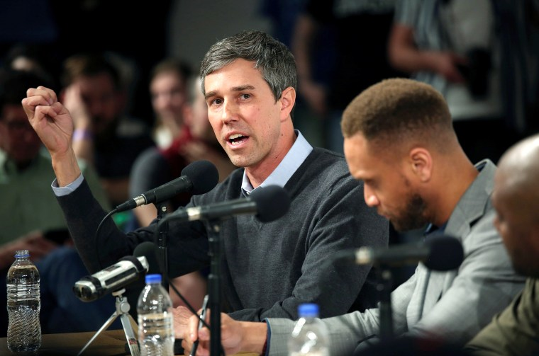 "Image: Democratic 2020 presidential candidate Beto O'Rourke speaks during the recording of the ""Political Party Live\"" podcast during a three day road trip across Iowa"