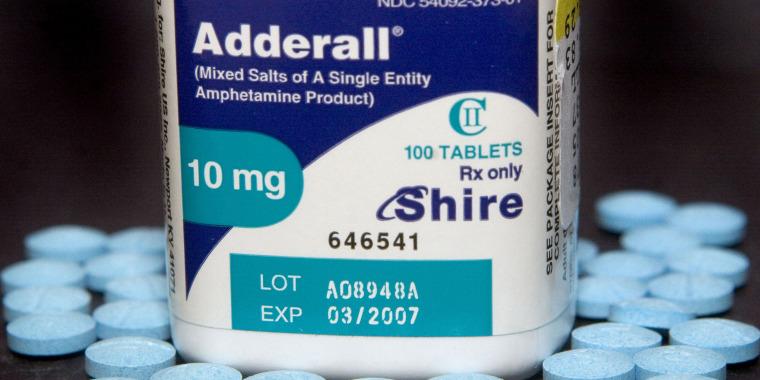 Ten milligram tablets of the hyperactivity drug, Adderall, m