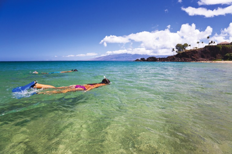 Couple snorkeling at the beach in Maui