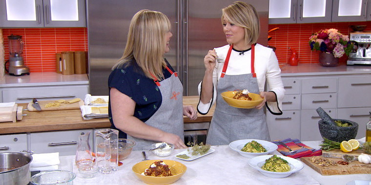 Chitarra Pasta with Asparagus-Green Olive Pesto