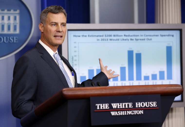 Image: Alan Krueger, chairman of the Council of Economic Advisers, speaks during a briefing at the White House on Nov. 26, 2012.