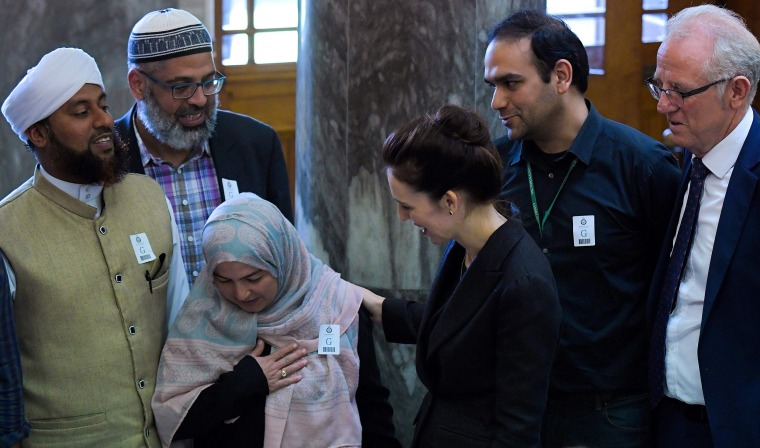 Image: New Zealand Prime Minister Jacinda Ardern meets with Muslim community leaders after the Parliament session in Wellington