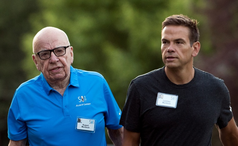 Image: Rupert Murdoch, chairman of News Corp, and his son, Lachlan Murdoch, walk at the Allen and Company Sun Valley Conference in Idaho on July 13, 2017.