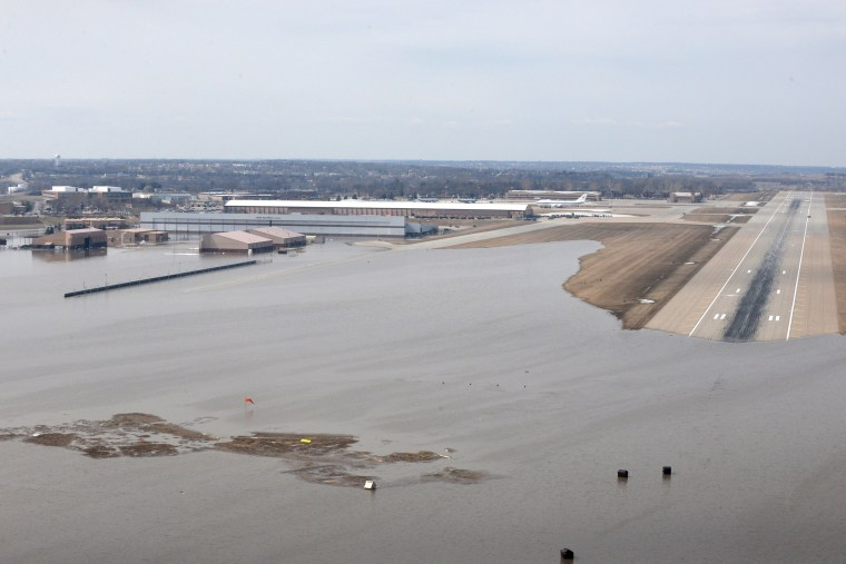 Image: FILE PHOTO: An aerial view of Offutt Air Force Base and the surrounding areas affected by flood waters in Nebraska