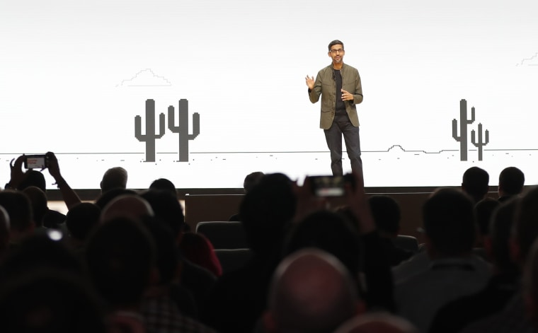 Image: Google CEO Sundar Pichai speaks during the Google keynote address at the Gaming Developers Conference in San Francisco