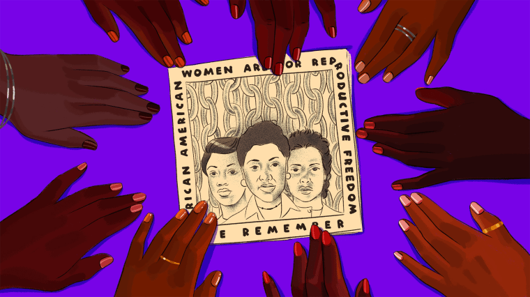Illustration of women's hands reaching toward an abortion rights pamphlet.