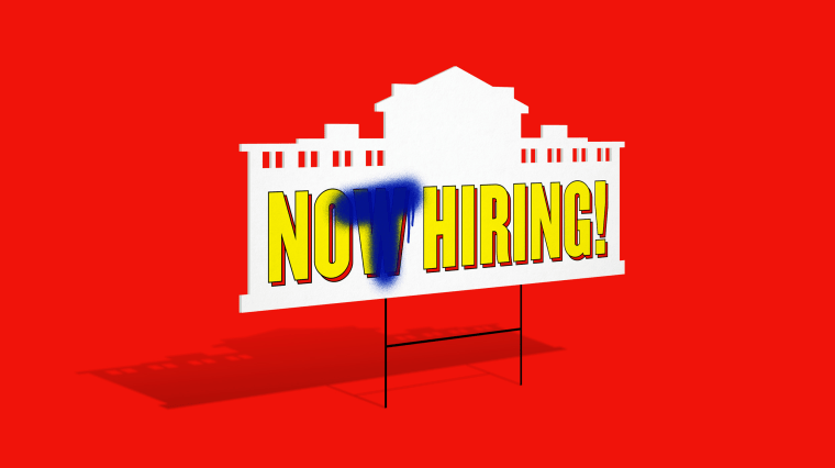 "Illustration of a Now Hiring sign where the W in Now has been spray painted over with a T to read ""Not Hiring."""