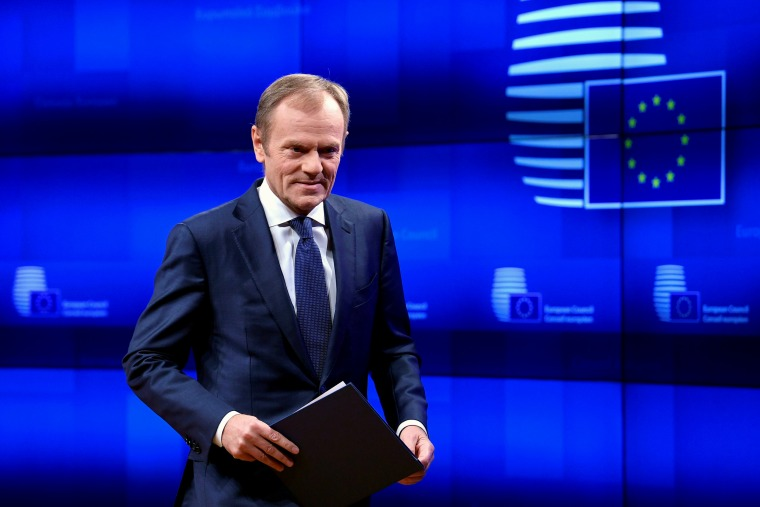 Image: Donald Tusk, President of the European Council, delivers a statement on Brexit ahead of the EU summit in Brussels on March 20, 2019.