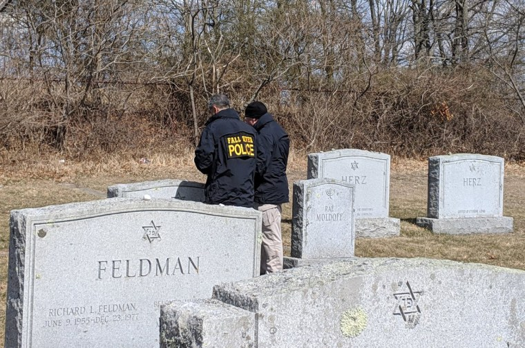 """Reward offered for info leading to arrest of people responsible for #AntiSemitic stmts of hate on dozens of graves in #FallRiverMA. Incredible work by @FallRiverPD today but they need the public's help. Silence is not an option...time to step up."""
