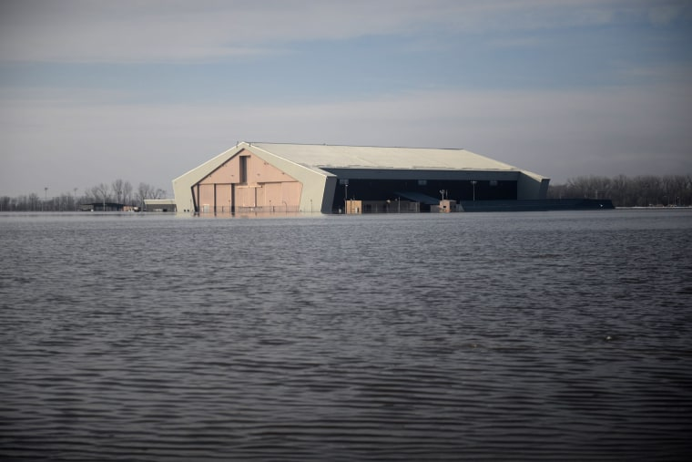 Image: One of many areas near the southeast side of Offutt Air Force Base affected by flood waters is seen in Nebraska