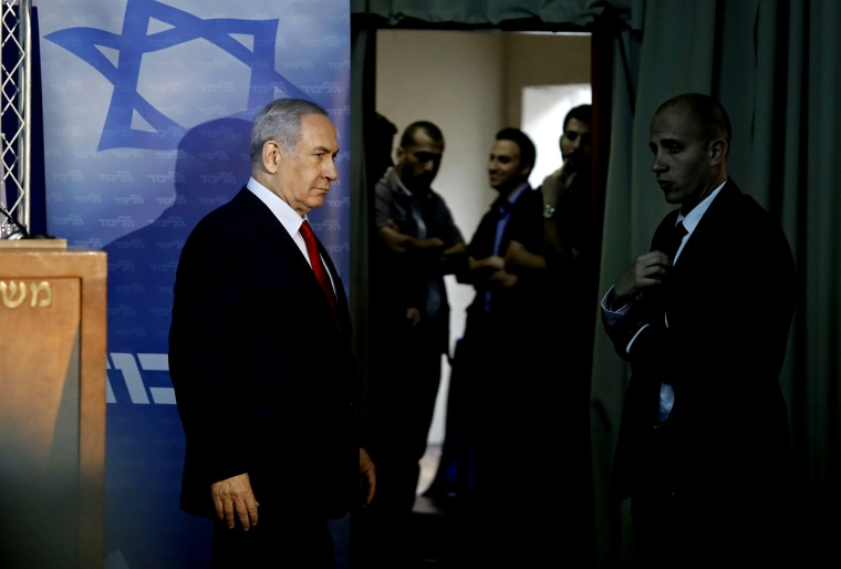 Image: Israeli Prime Minister Benjamin Netanyahu arrives to deliver a statement at his residence in Jerusalem on March 20, 2019.