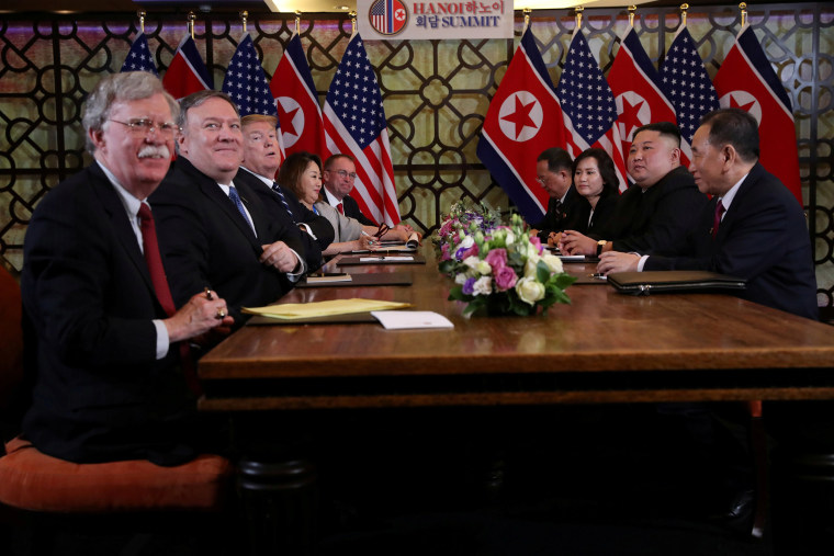 Image: FILE PHOTO: North Korea's leader Kim Jong Un and President Donald Trump attend the extended bilateral meeting in the Metropole hotel during the second North Korea-U.S. summit in Hanoi