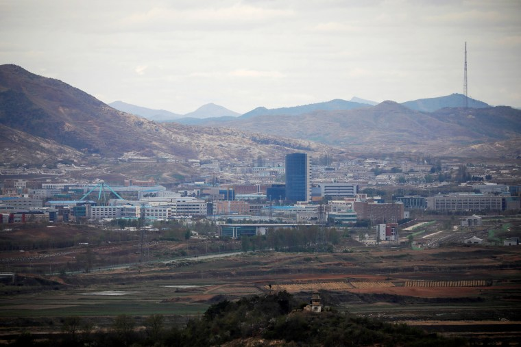 Image: The inter-Korean Kaesong Industrial Complex as seen from the Dora observatory near the demilitarised zone separating the two Koreas, in Paju, South Korea