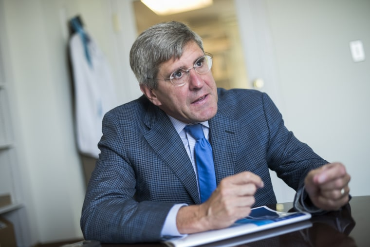 Stephen Moore of The Heritage Foundation is interviewed in his Washington office in 2016.