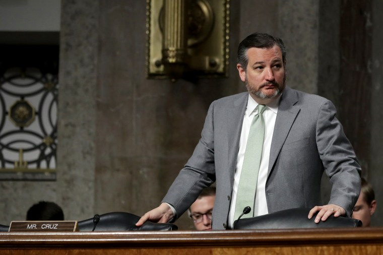 Image: Sen. Ted Cruz, R-Texas, during a hearing at the Dirksen Senate Office Building on Capitol Hill on March 13, 2019.