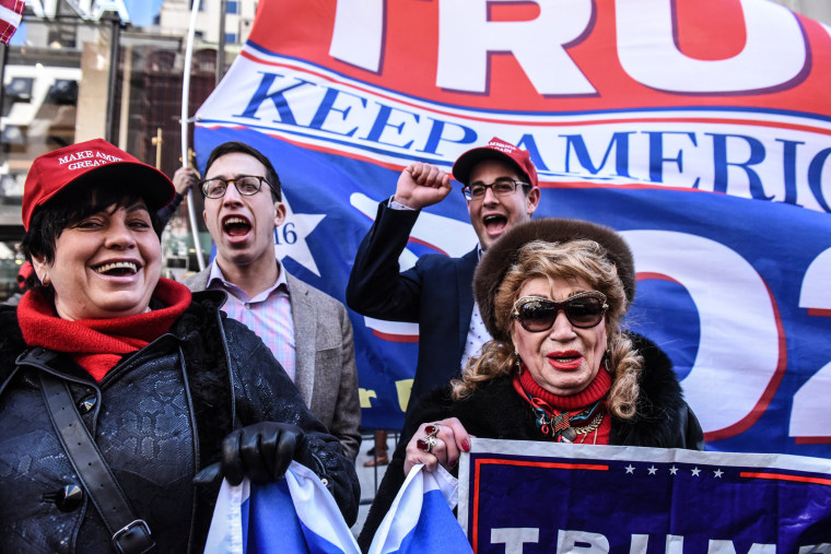 Image: Supporters at a rally for President Donald Trump near Trump Tower in New York on March 23, 2019.