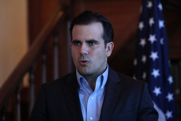 Puerto Rico Governor Rossello speaks during a Facebook live broadcast, in San Juan