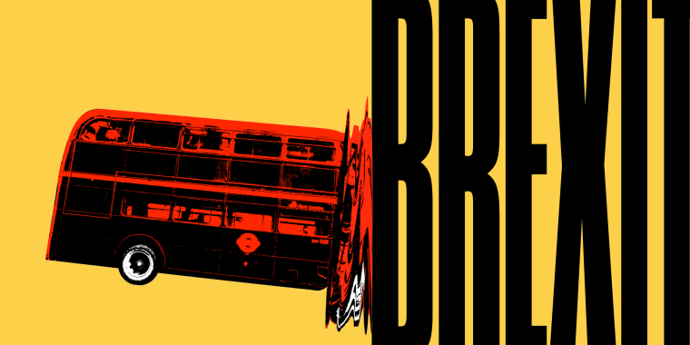 Illustration of a double-decker bus crashing into BREXIT in large letters.