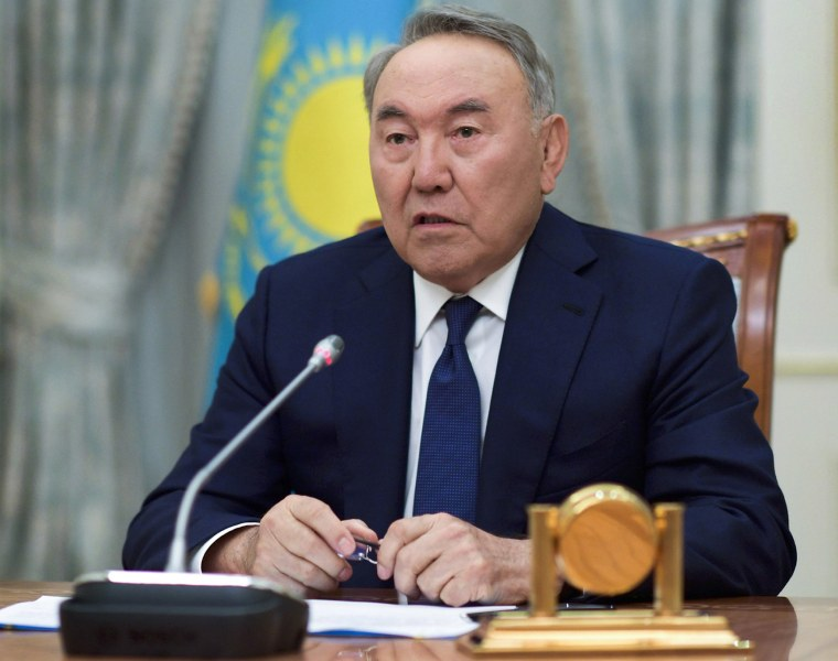 Image: Kazakh President Nursultan Nazarbayev speaks during a televised address to the oil-rich nation in Astana, Kazakhstan