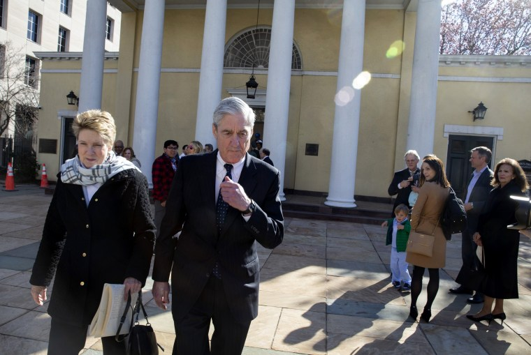 Image: Special Counsel Robert Mueller walks with his wife, Ann, in Washington on March 24, 2019.