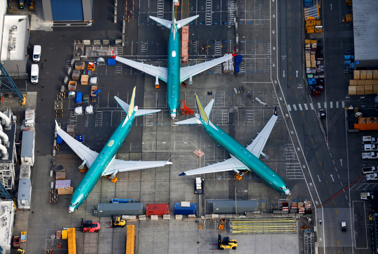 Image: Boeing 737 MAX airplanes on the tarmac at the Boeing Factory in Renton, Washington, on March 21, 2019.