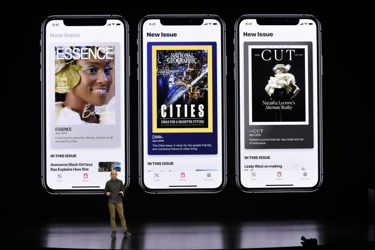 Image: Roger Rosner, vice president of applications at Apple Inc., speaks about the new premium subscription tier to its News app on March 25, 2019.