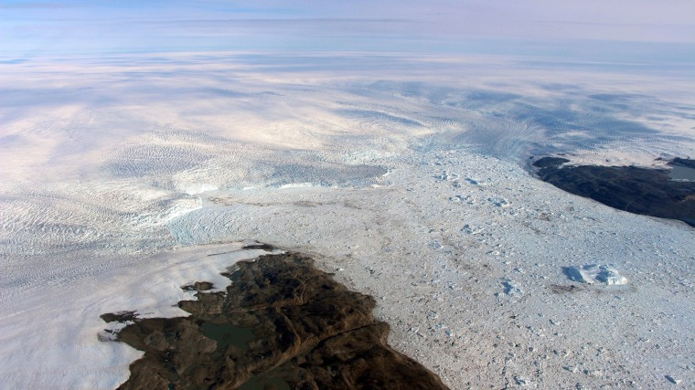 Image: Patches of bare land are seen at the Jakobshavn glacier in Greenland in 2016